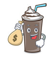 with money bag ice chocolate character cartoon vector image vector image