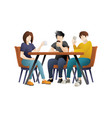 young people is eating at a restaurant vector image