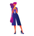 young woman with badge and smartphone standing and vector image vector image