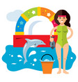 dolphinarium concept flat style colorful vector image