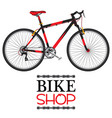 bike shop with red bicycle in flat style vector image