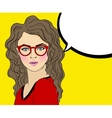 Pop Art Woman with red Glasses and speech bubble vector image
