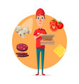 poster of pizza delivery man for pizzeria vector image