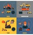Coal industry flat set vector image