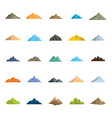 mountain flat icons set for vector image