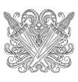 medieval sword and decorative baroque ornament vector image