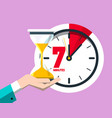 7 minutes on clock flat design seven minute icon vector image vector image