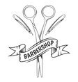 barbershop scissors and razor blades vector image vector image