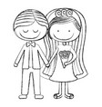 blurred silhouette caricature couple in wedding vector image