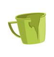 broken green cup recycling garbage concept vector image vector image