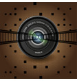 brown background group of objects lens black vector image vector image