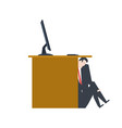 businessman is hiding under table manager is lurk vector image vector image