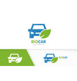 car and leaf logo combination vehicle vector image vector image