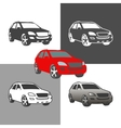 car suv 4x4 vehicle silhouette icons colored and vector image