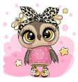 cartoon owl on a pink background vector image vector image