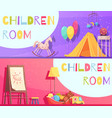 children room horizontal cartoon banners vector image