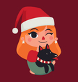 Christmas Girl Holding her Dog vector image vector image