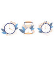 clock hourglass and stopwatch analog watch vector image vector image