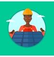 Constructor installing solar panels vector image vector image