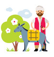 donkey drover flat style colorful cartoon vector image vector image