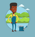 farmer with watering can at field vector image