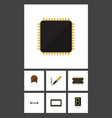 flat icon appliance set of microprocessor repair vector image vector image
