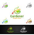 gardener care logo with green garden environment vector image vector image