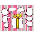 gift box with speech comics bubbles on pi vector image