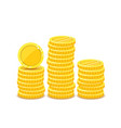 golden coins piles metal money realistic vector image