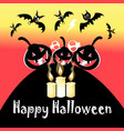 halloween festive greeting card with pumpkins and vector image vector image