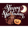halloween with orange pumpkin cat in witch vector image vector image