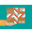 Hands with postal cardboard box delivery concept vector image vector image