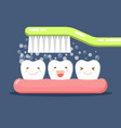 happy cute cartoon tooth and toothbrush brushing vector image vector image