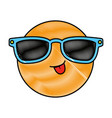 happy face emoji with sunglasses vector image vector image