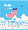 hello spring romantic banner or flyer vector image