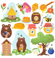 honey funny cartoon icons vector image vector image