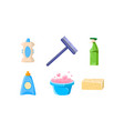 household cleaning supplies set basin sprayer vector image