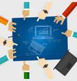 laptop notebook review design blue print sketch vector image vector image