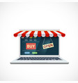 laptop with a shop window on screen vector image