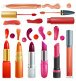 lipstick beautiful red color fashion pink vector image