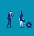man talking to businesswoman chain bound hands vector image