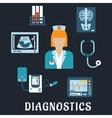 Medical diagnostic procedures flat icons vector image
