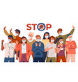 multinational people in medical masks show stop vector image