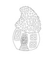 mushroom house hand drawn outline vector image