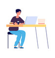 online study distance learning student watching vector image vector image