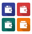 packed wallets icons set in flat style with long vector image vector image