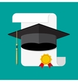 paper diploma with stamp and graduation cap vector image vector image