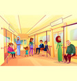people in subway metro train vector image vector image