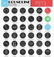 Pet friend circle white black icon set vector image vector image