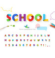 school 3d puzzle font cartoon paper cut out abc vector image vector image